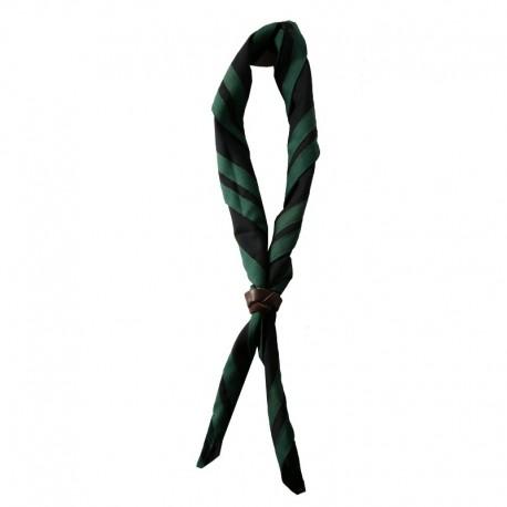 Foulard Noir - 2 liserés Vert foncé