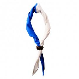Foulard moitié Blanc - moitié Roy